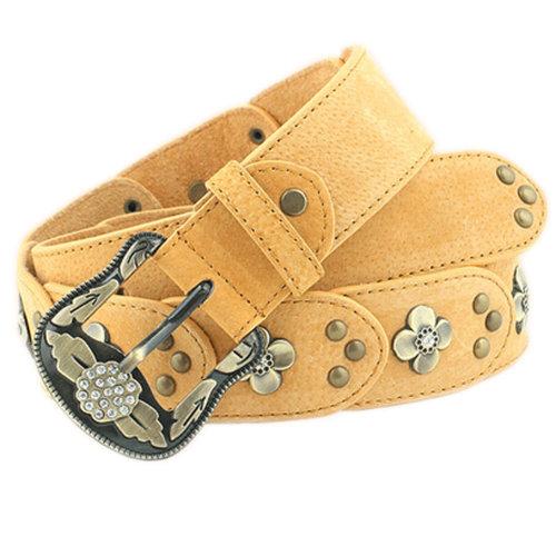 Women Fashion Belt Rivet Dress Decorative Belt Floral Belt [Light Yellow]