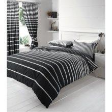 Linear black & white cotton blend duvet cover