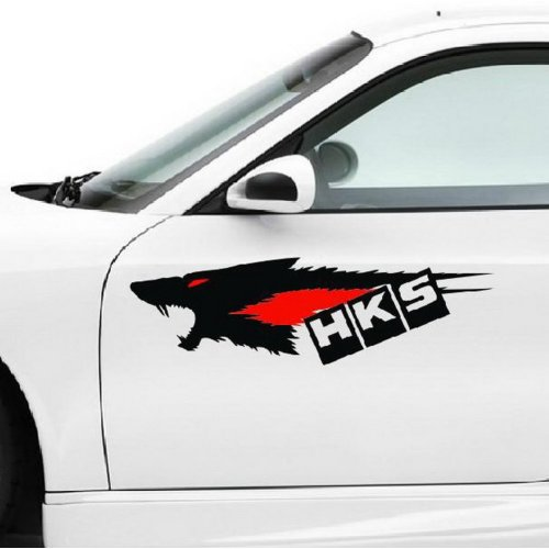 17.7''*5.5'' Cool Car Decals Vehicle Door Decals Car Stickers, Black Wolf