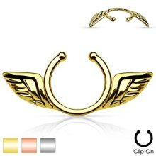 Wide Straight Angel Wings Clip On Fake Nipple Non Piercing