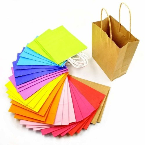 Jzk 30 Multi Colour Kraft Paper Party Gift Bags With Handles For Kids Treat Goody Favours Wedding Birthday Christmas