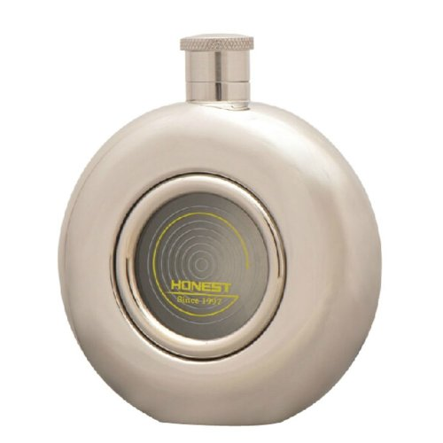 Creative Gifts Portable Stainless Steel Hip Flask Circular Hip Flask, 5oz