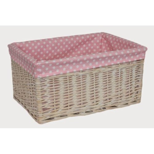 Extra Large Pink Spotty Lined Storage Basket