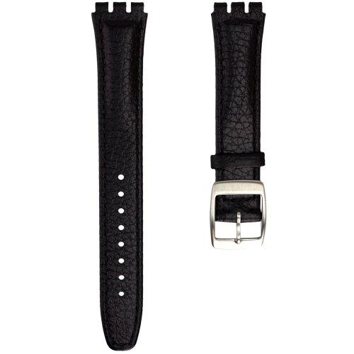 Geckota® Genuine Leather Watch Strap Designed for Swatch Watch, Black, 17mm