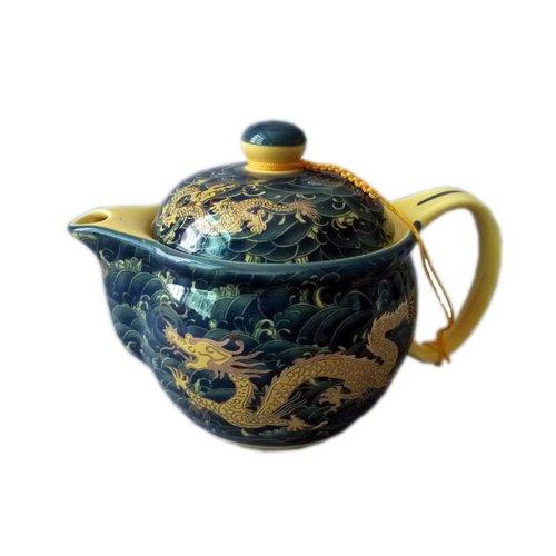Golden Dragon Porcelain Teapot, China Tea Kettle Gift for Friend