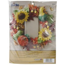 "Bucilla Felt Wreath Applique Kit 15"" Round-Harvest Time"
