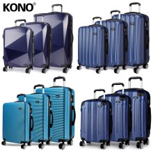 KONO 3 Pieces Suitcase Luggage Travel Bag Hard Shell ABS PC Trolley Case Navy Blue 20 + 24 + 28 Inch