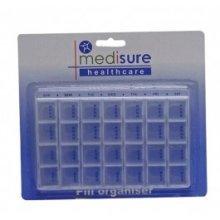 28 Compartment Medisure Pill Organiser - Tray Storage Box -  pill organiser 28 medisure tray compartment storage box