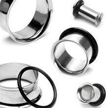 Surgical Steel Single Flare with 1 Black O Ring Hollow Ear Tunnel Saddle Plug Piercing Finest Quality Materials