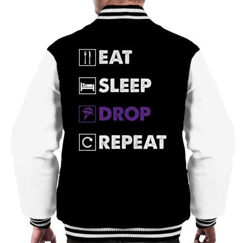 Eat Sleep Drop Repeat Fortnite Purple Logo Men's Varsity Jacket