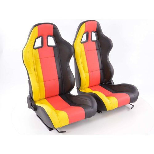 Sportseat Set Germany artificial leather black/Red //yellow