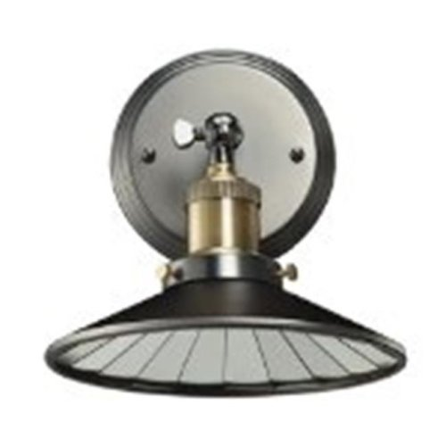 Bulbrite 810021 NOS-SCON-SHADE-PW Vintage 1-Light Brass Shade with Mirrored Reflector Wall Sconce, Pewter Finish