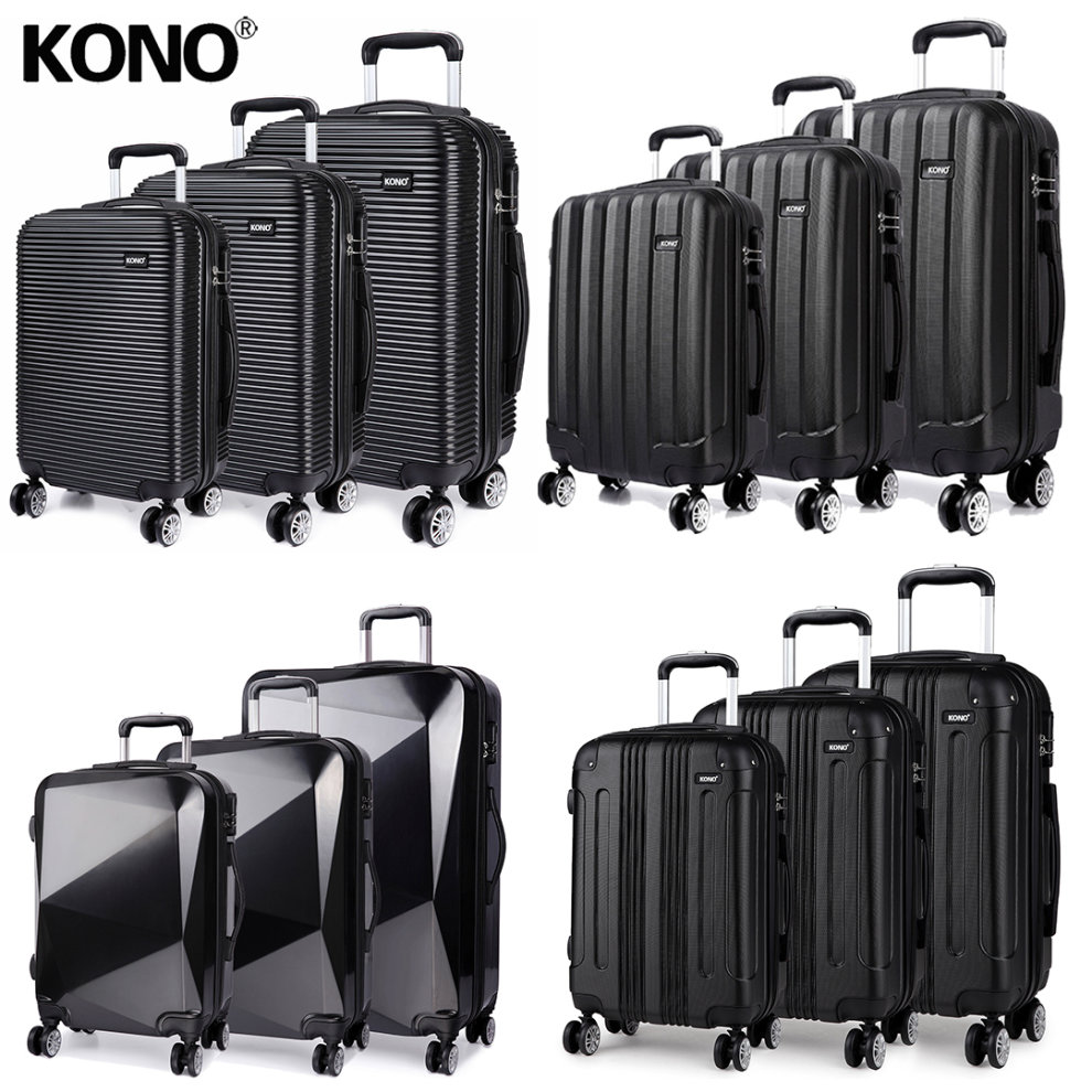 KONO 3 Pieces Suitcase Luggage Travel Bag Hard Shell ABS PC Trolley Case  Black 20 + ... 9ec0524d02