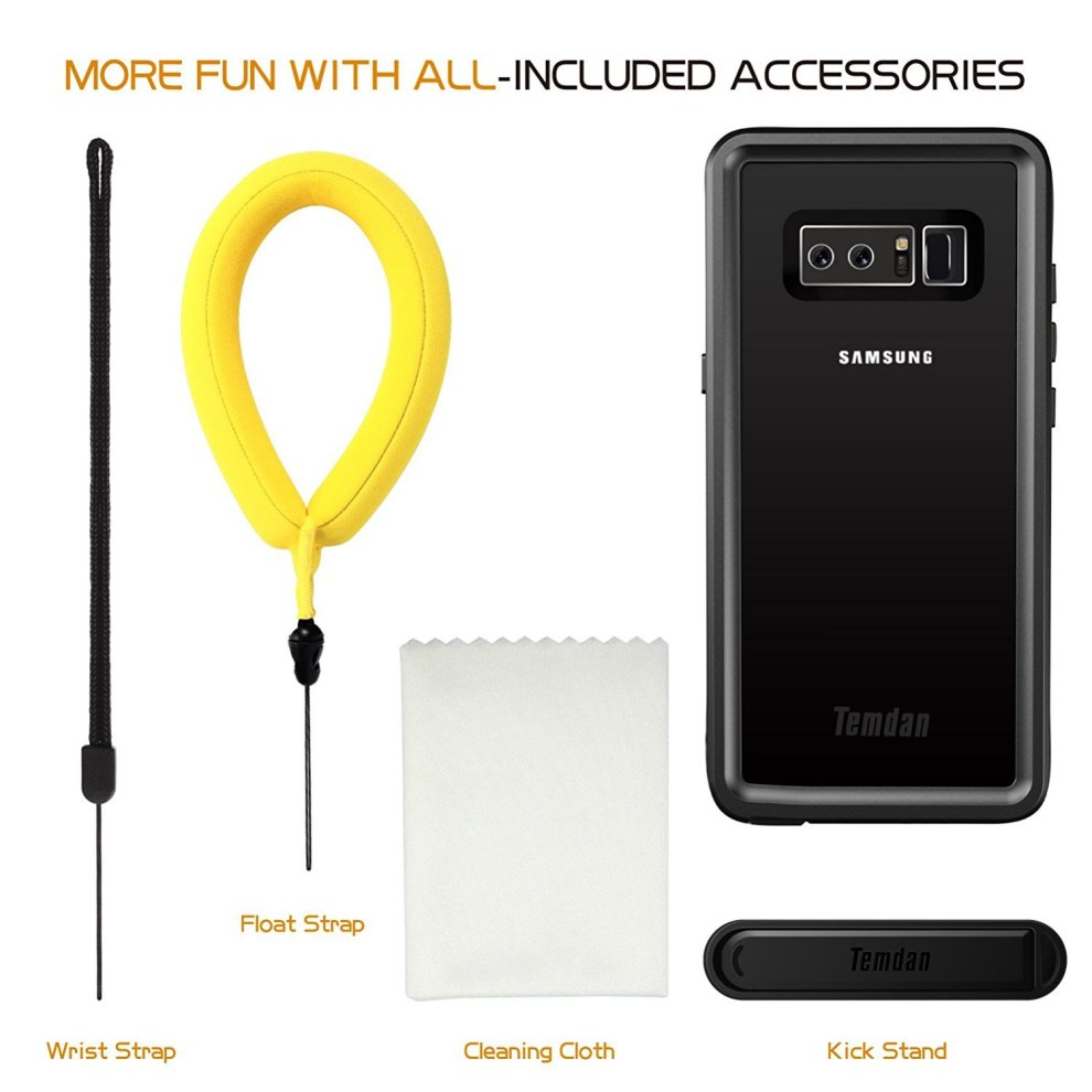 detailed look 72fc0 80bf0 Temdan Samsung Galaxy Note 8 Waterproof Case with Kickstand and Floating  Strap IP68 Waterproof Shockproof Protective Clear Case for Galaxy Note 8...