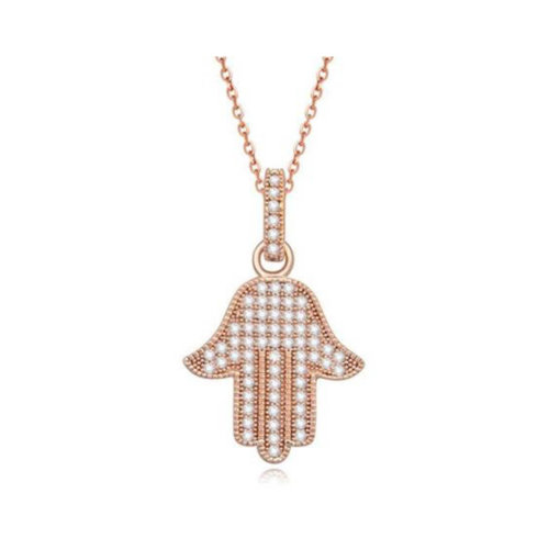 ae1509bdb Rose Gold Pendant Necklace Hamsa Hand Lucky Gift Protect Evil Eye Safe on  OnBuy