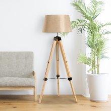 Homcom Wooden Adjustable Tripod Floor Lamp