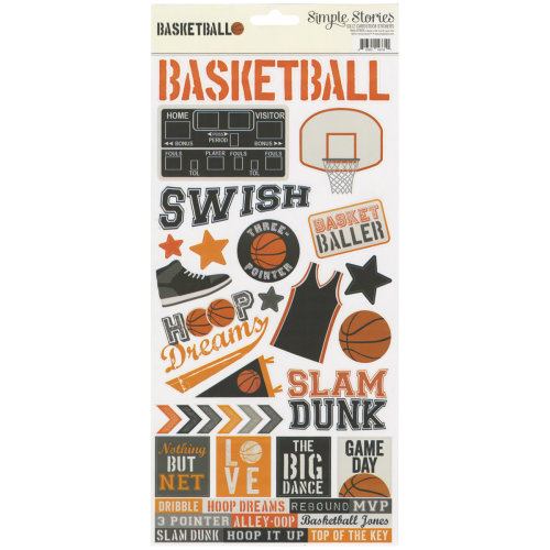 "Simple Sets Basketball Cardstock Stickers 6""X12""-"