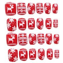 24 Pcs Fashion Nails Stickers Beautiful Nail Decorations False Nails Tips [J]