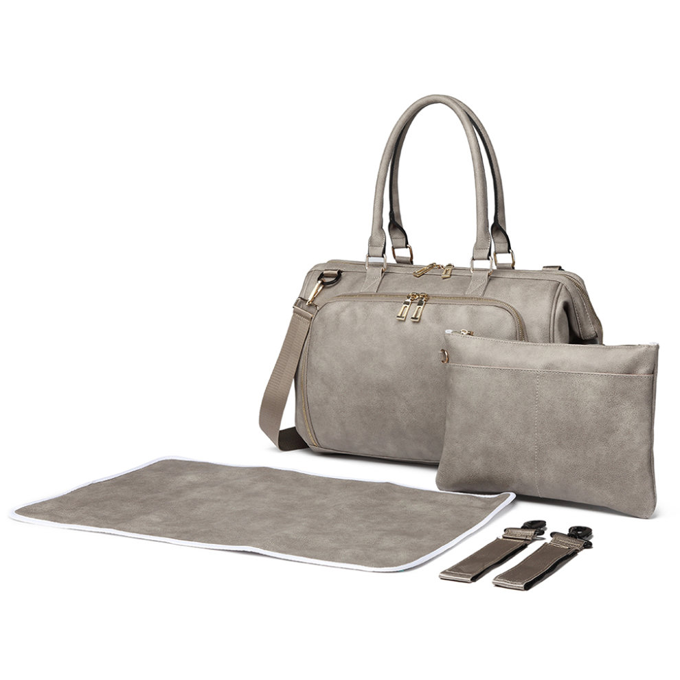 f629327539850 ... Miss Lulu 3 Pieces Baby Nappy Diaper Changing Bag PU Leather Grey - 3  ...