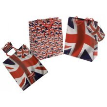 Pack Of 3 Union Jack Gift Bags 2 Assorted Designs - Large British Flag Present -  pack 3 union jack gift bags 2 assorted designs large british flag