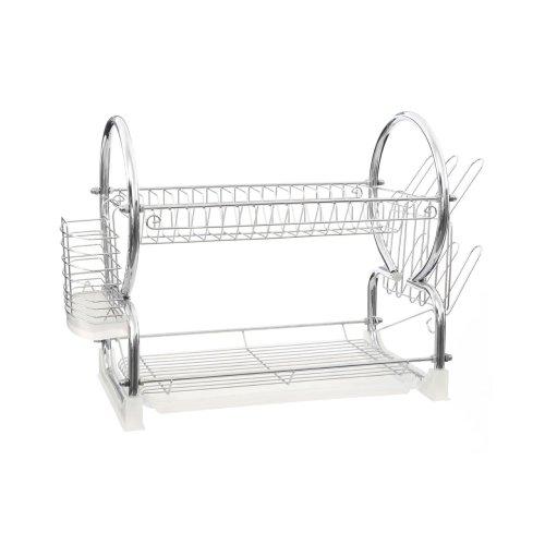 2-Tier Dish Drainer, White & Chrome