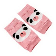 Cute Panda Print Children's Crawling Kneepads Breathable Cotton Elbow Pads, Pink