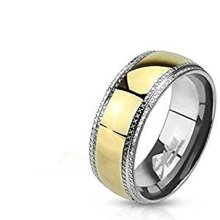 Gold Plated Center Etched Edge Stainless Steel Band Ring
