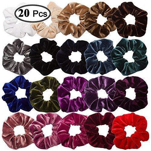 Whavel 20 Pack Hair Scrunchies Velvet Elastics Scrunchy Bobbles Soft Hair Bands Hair Ties, 20 Colors