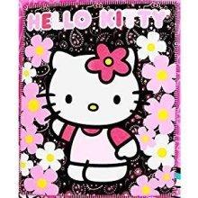 """Blanket - Hello Kitty - Black Sunflwers New 50x60"""" Fleece Throw 70331"""