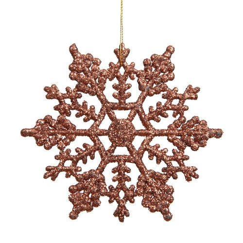 Pack Of 6 Mocha Brown Glittery Hanging Snowflakes Christmas Decorations (DP209)