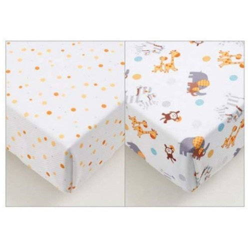 Breathable Baby Super Dry Cotbed Sheets 2 Pack - Animal 2 By 2