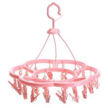 Plastic Clothespins Clothesline Drying Hanger Rack With 24 Clips,37.5CM,Pink