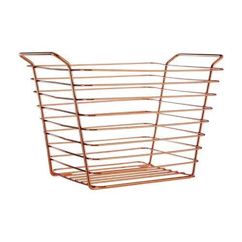 Copper-Plated Wire Basket | Rose Gold Storage Basket