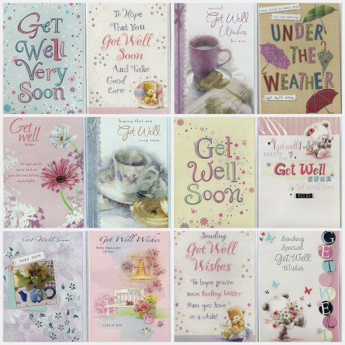 Pack of 12 Assorted Get Well Soon Greeting Cards. Individually packed with envelopes.