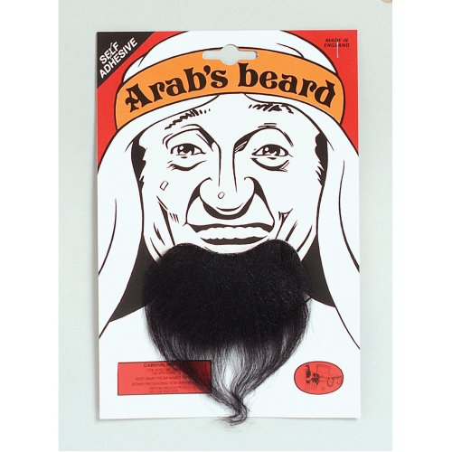 Black Arab Stick-on Goatee Beard -  arab beard black brown grey fancy dress costume fake goatee false disguise steptoes sheikh mens party show FANCY
