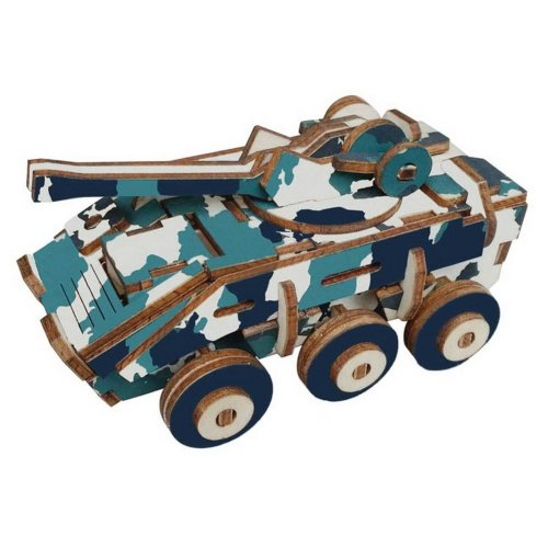 Children's Wooden Puzzle Stereo 3D Simulation Toy Model Armored Vehicle (59 Pcs)