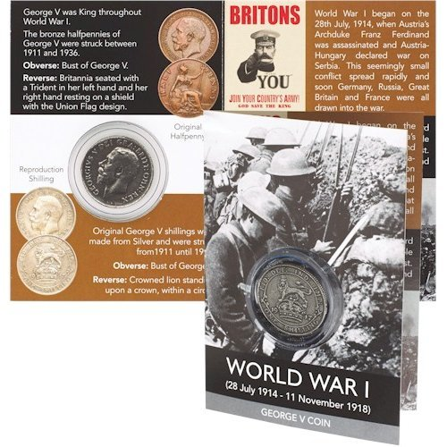 George V Reproduction Silver Shilling Coin Pack World War 1 100 Year Anniversary Centenary Gift WW1