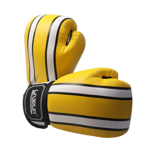 Fashion Boxing Martial Arts Training Gloves YELLOW WHITE, 8 Ounce