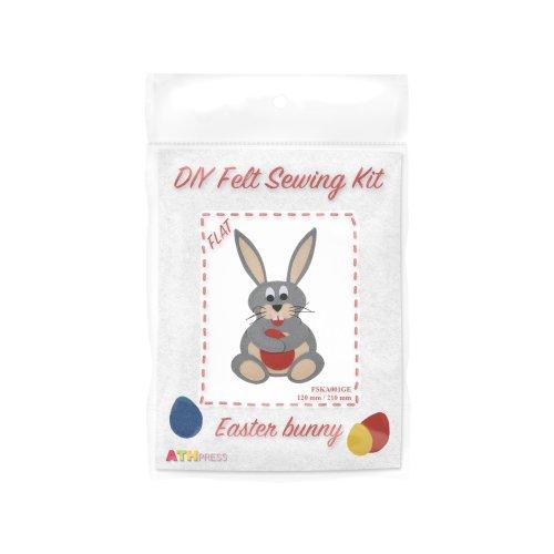 ATH Press - DIY Felt Sewing Kit - Easter Bunny - Grey-Flat