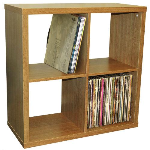 CUBE - 4 Cubby Square Display Shelves / Vinyl LP Record Storage - Oak