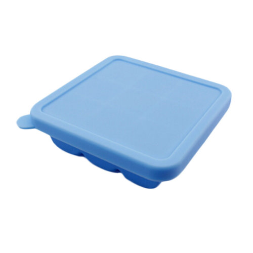 Square Safe And Soft Silicon Ice Cube Tray With Silicon Lid, Blue