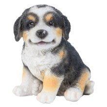 Realistic 15cm Sitting Bernese Mountain Dog Puppy Statue Ornament