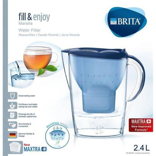 BRITA Marella Cool MAXTRA+ Plus 2.4L Water Filter Fridge Jug + 1 Cartridge, Blue