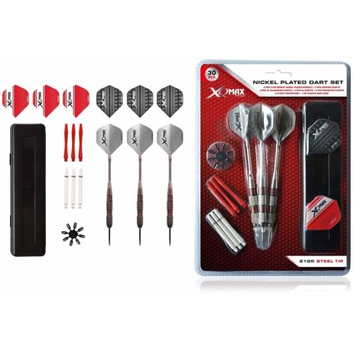 XQmax Darts 30 Piece Nickel-Plated Dart Set 21g Steel Tip QD7000680