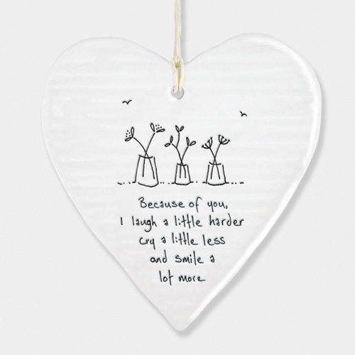 East of India Wobbly Porcelain Heart - Because of You, I laugh a little…. Gift