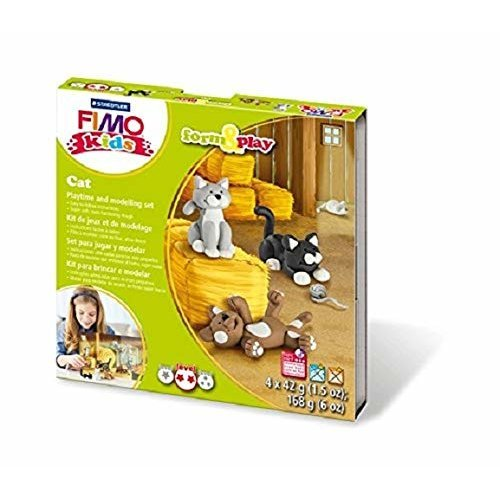 STAEDTLER 8034 16 LZ Fimo Kids Cat Form and Play Set