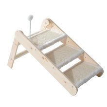 Pawhut Folding 3-in-1 Wooden Pet Ramp & Stair Sisal Cat Scratcher Step Ladder W/ Toy