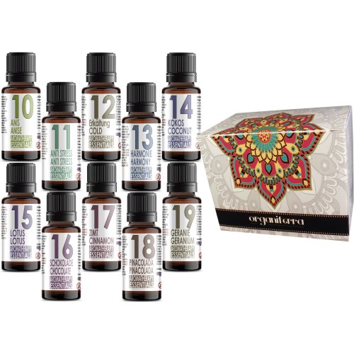 Set of 10 (ten) Scented Oils Aromatherapy Essential in a Gift Box- Pack 10-19 Anise, Anti Stress, Cold, harmony, Coconut, Lotus, Chocolate,...