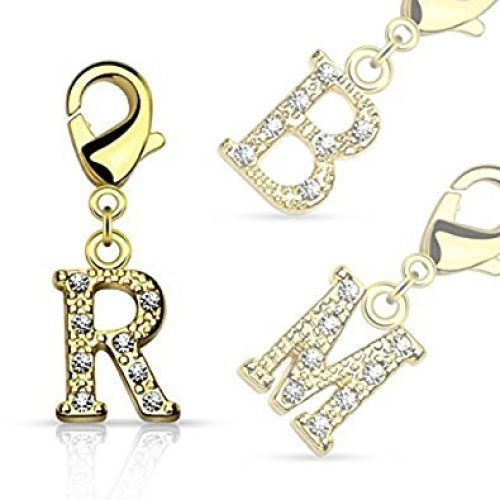 Letter Multi Crystal Encrysted Initial Gold Plated Charm with Lobster Claw Jewellery Part