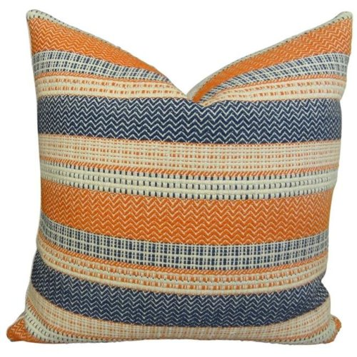 Orange Navy Blue White Throw Pillow Mix And Match Indoor